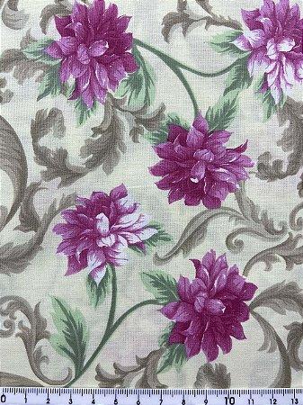 Tricoline Floral com Arabesco Fernando Maluhy ( 0,50 m x 1,40 m )