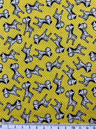Tricoline Zebrinha Fundo Amarelo  ( 0,50 m x 1,40 m )