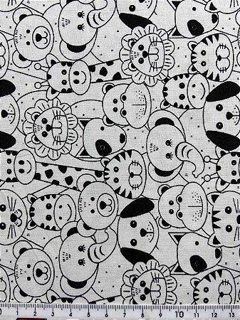 Tricoline MISTO Animais P&B ( 0,50 m x 1,50 m )