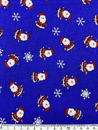 Tricoline Pequeno Papai Noel Fundo Azul Royal ( 0,50 m x 1,40 m )