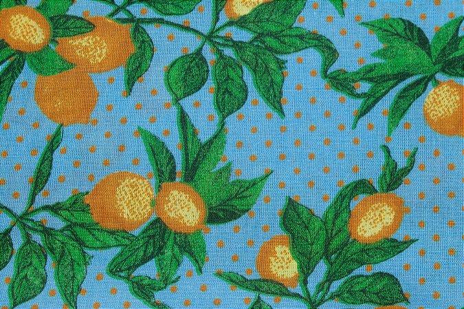 Tricoline Limões Poá Fundo Azul ( 0,50 m x 1,40 m )
