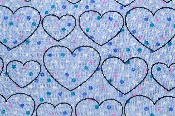 Tricoline Corações e Poás Fundo Azul ( 0,50 m x 1,40 m )