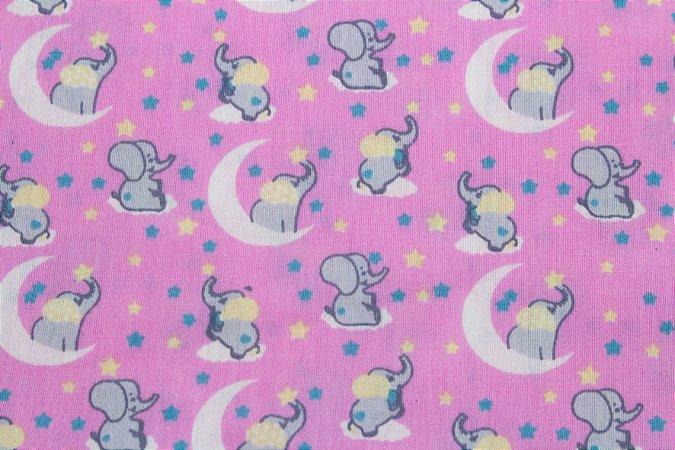 Tricoline Noite Dos Elefantinhos Fundo Rosa ( 0,50 m x 1,40 m )