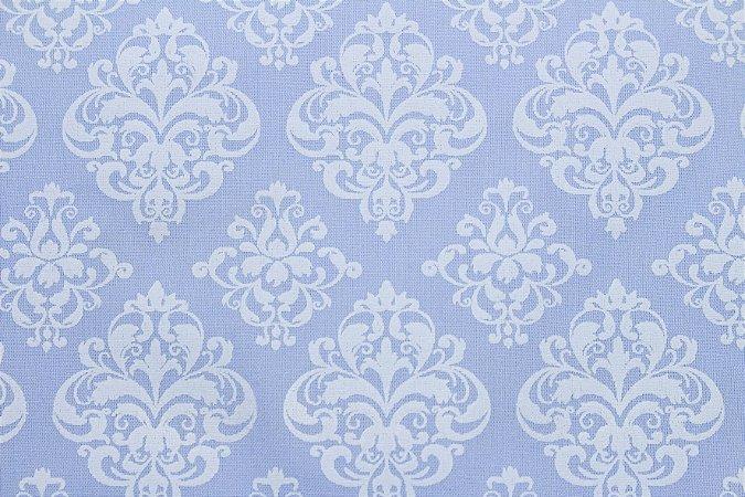 Tricoline Arabesco fundo Azul Bebê ( 0,50 m x 1,40 m )