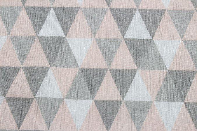Tricoline Triângulos Geométricos Rosa Bebê ( 0,50 m x 1,40 m )