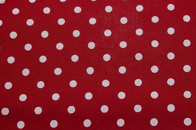 Tricoline Bolinhas Brancas fundo Vermelho ( 0,50 m x 1,40 m )