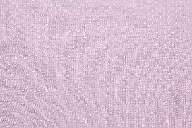 Tricoline Poá Branco fundo Rosa Bebê ( 0,50 m x 1,40 m )