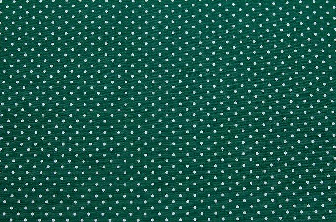 Tricoline Poá Branco fundo Verde ( 0,50 m x 1,40 m )