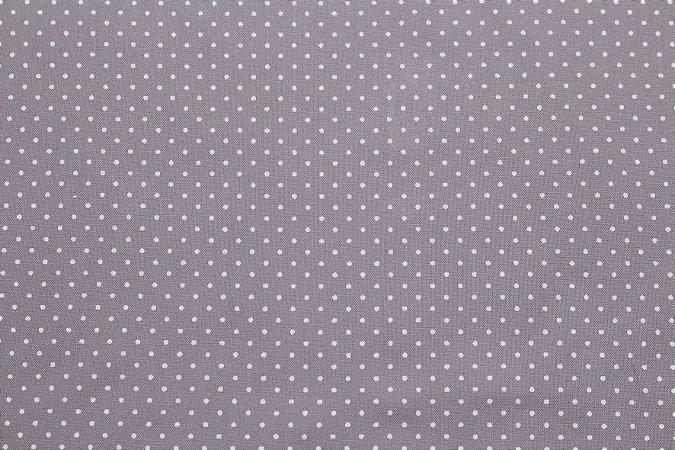 Tricoline Poá Branco fundo Cinza ( 0,50 m x 1,40 m )