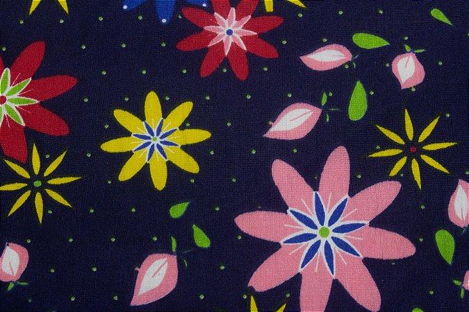 Tricoline Floral Colorido fundo Marinho ( 0,50 m x 1,40 m )