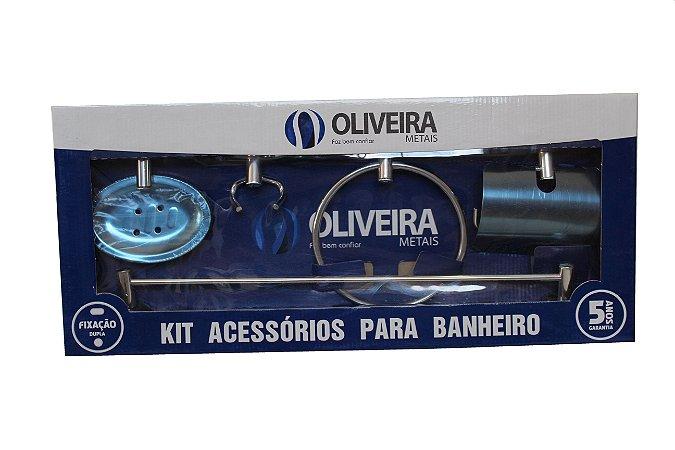 KIT ACESSÓRIOS BANHEIRO OLIVEIRA 5 PEÇAS