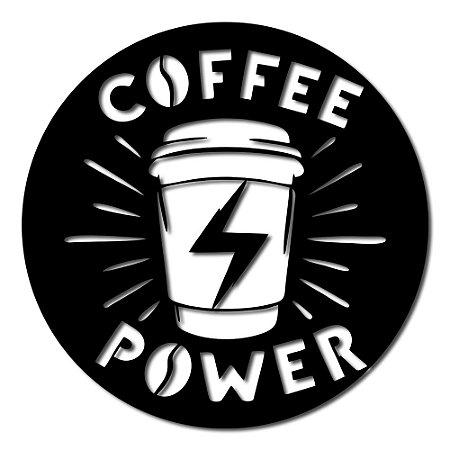 Aplique de Parede Café Coffee Power Em Madeira
