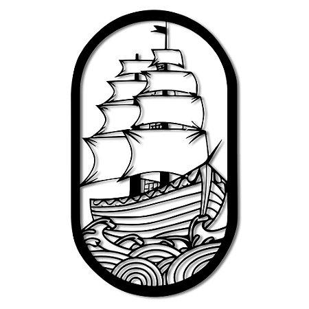Aplique de Parede Barco Alto Mar Em Madeira