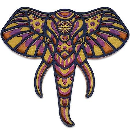 Quadro Decorativo 3D Elefante Ganesha Em Madeira