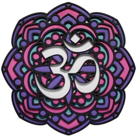 Quadro Decorativo 3D Mandala Om Em Madeira