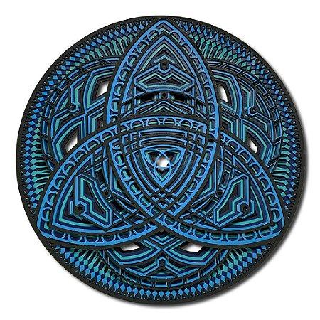 Quadro Decorativo 3D Mandala Tríquetra Em Madeira