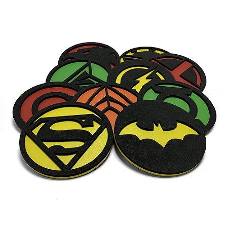 Porta Copos Bolacha de Chopp Geek Liga da Justiça DC Comics - Jogo com 10 unidades