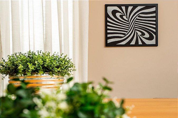 Quadro decorativo abstrato espiral madeira mdf com relevo 20x24 cm