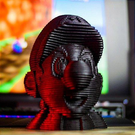Cabeça do Mario 3D em MDF Preto 17cm