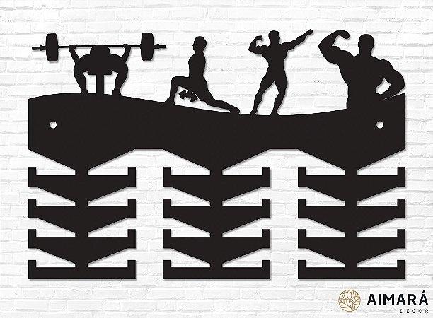 Porta Medalhas Fisiculturismo Ilustrações em madeira mdf 24 ganchos