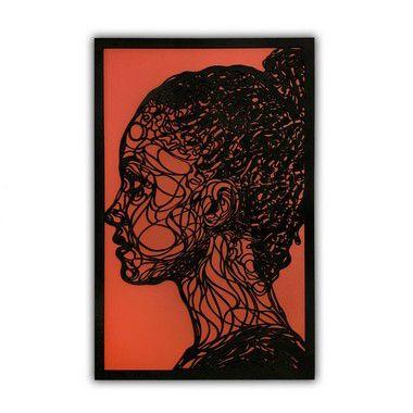 Quadro Decorativo Achiote Perfil Abstrato Feminino Em Madeira