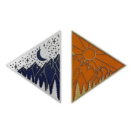 Quadro Decorativo Triangulos Achachilla Com Relevo Em Madeira