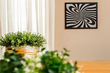 Quadro Decorativo Abstrato Espiral Madeira mdf Com Relevo