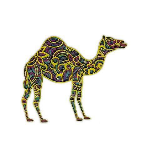 Quadro Decorativo 3D Camelo Huanaco Em Madeira