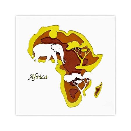 Quadro Decorativo 3D Allpa África Em Madeira