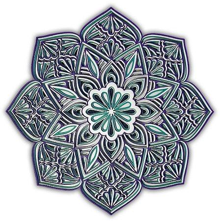 Mandala Quadro Decorativo 3D Muyu Em Madeira
