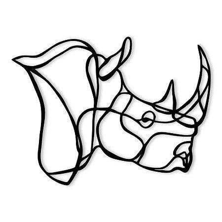 Aplique de Parede Geométrico Rinoceronte Em Madeira