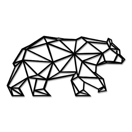 Aplique de Parede Urso Geométrico Em Madeira