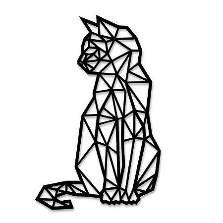 Aplique de Parede Gato Sentado Geométrico Em Madeira - Modelos