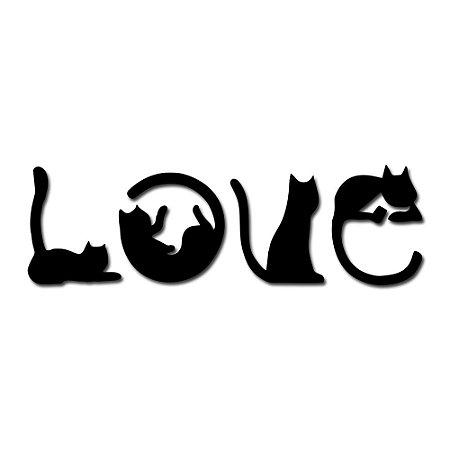 Aplique de Parede Love Cat Em Madeira