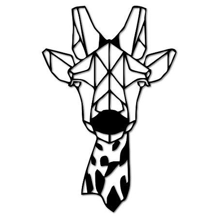Aplique de Parede Girafa Geométrico Em Madeira