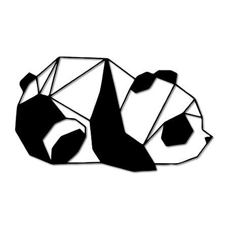 Aplique de Parede Panda Deitado Geométrico Em Madeira
