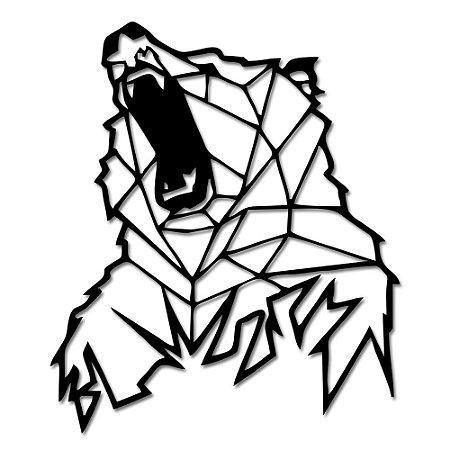 Aplique de Parede Urso Pardo Geométrico Em Madeira
