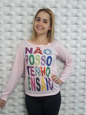 Camiseta Manga longa Não Posso - PP Adulto