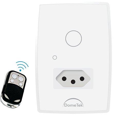Interruptor Touch RF 1 Via + Tomada Botões Pad Diamond Paralelo Three Way - Dometek