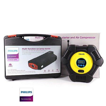 Auxiliar Partida Veicular Philips 10000mah C/ Compressor Ar