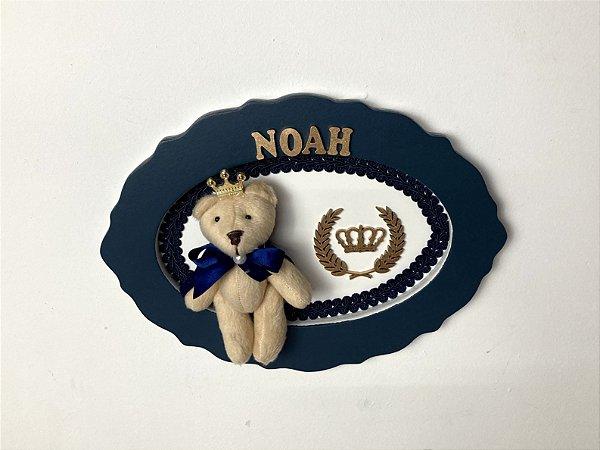 Porta maternidade oval tema urso herdeiro cor azul marinho