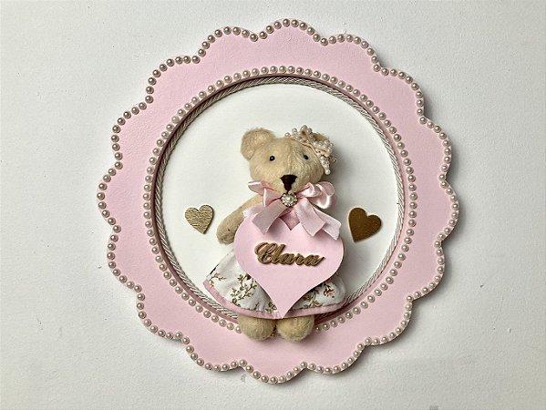 Porta maternidade redondo tema ursinha coração cor rosa personalizado
