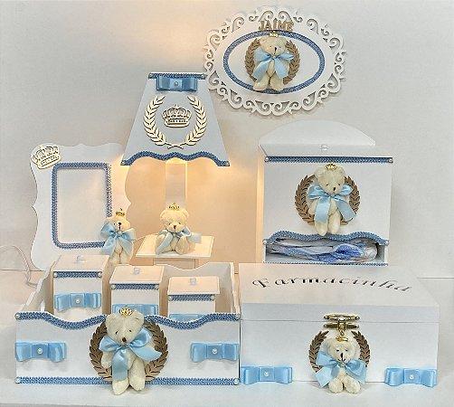 Kit higiene tema urso herdeiro pelúcia cor azul claro 9 peças
