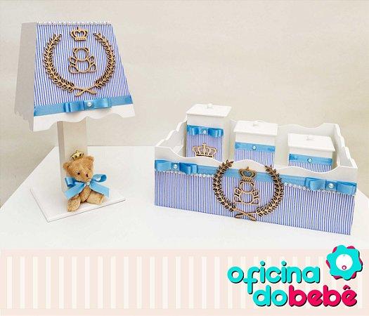 Kit Higiene MDF Urso da Realeza - Azul Listrado - 200615
