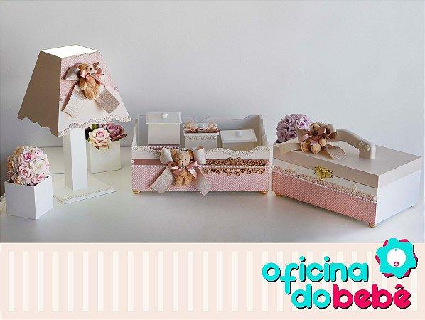 Kit MDF Higiene Ursinhas - Rosa - 100720