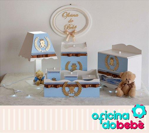 Kit Higiene MDF Completo Urso REI - Azul - 100722