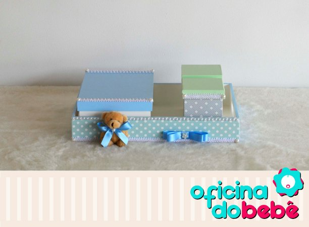 Bandeja MDF Urso Poá- Azul  - 100728