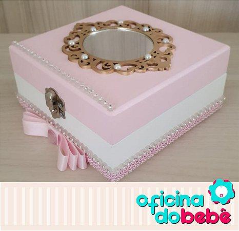 Caixa de Lembrancinhas - Rosa com espelho