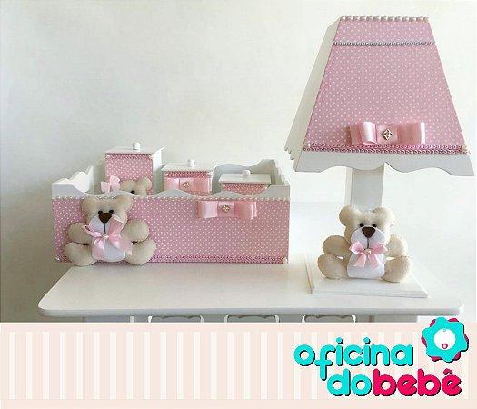 Kit Higiene MDF Bear Rosa & Branco