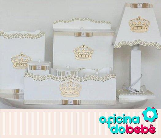 Kit Higiene MDF Completo Branco com Coroa Dourada